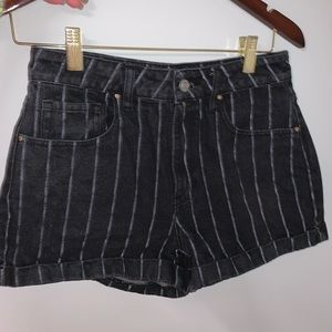 Black with white striped jean shorts